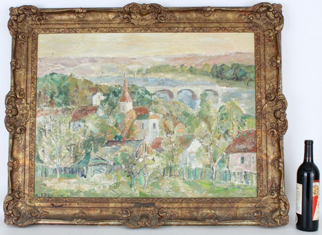 """Henryk Krych (1905-1980) """"Pejzaż z mostem"""", źródło: Helmuth Stone Gallery"""