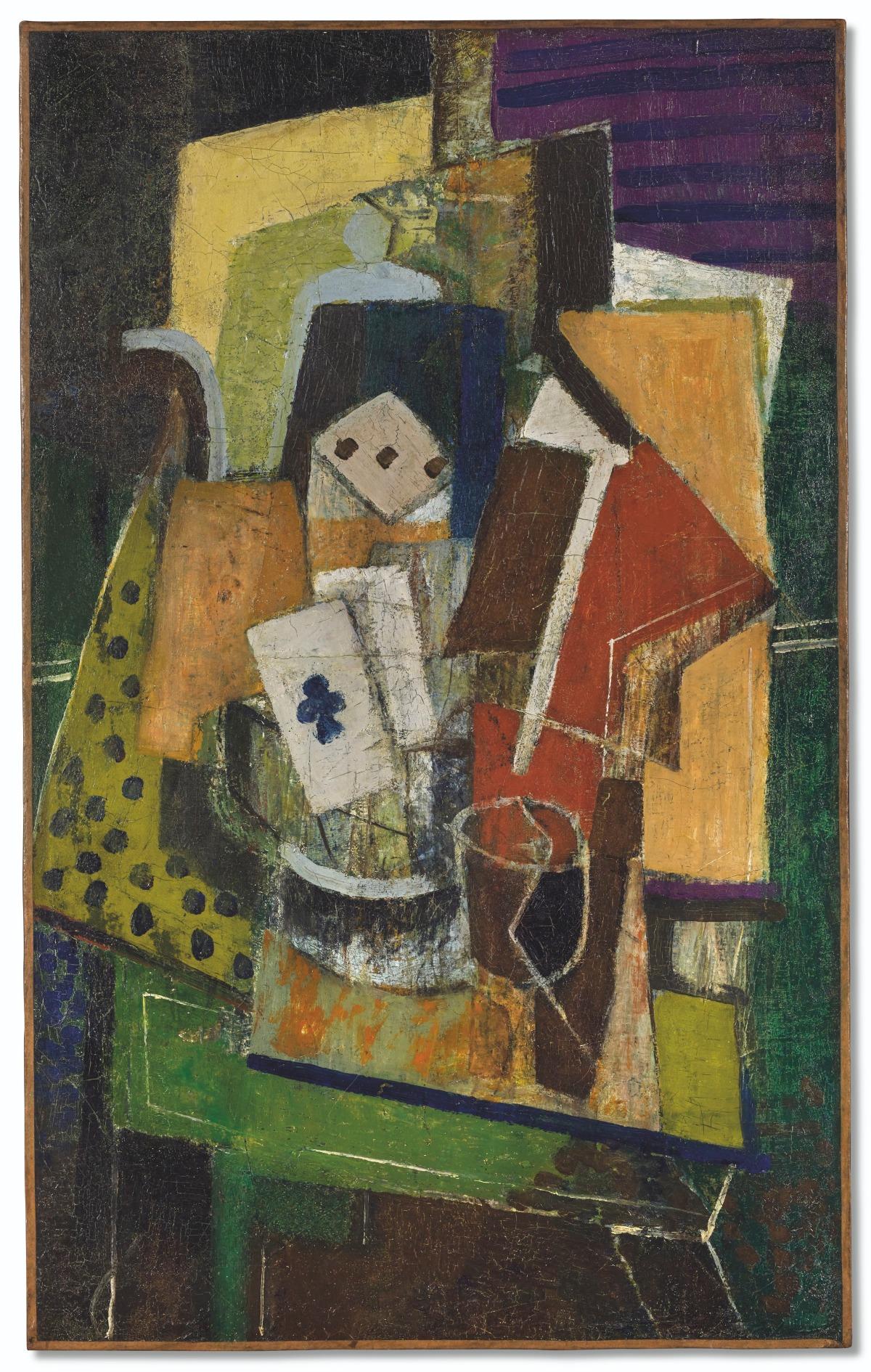 """Louis Marcoussis (1883-1941) """"Martwa natura z asem trefl"""", źródło: Christies"""