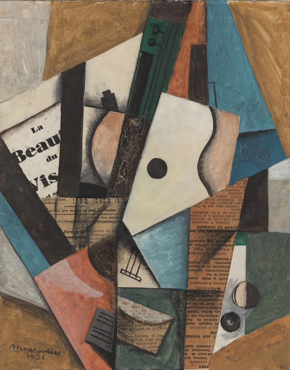 """Louis Marcoussis (1883-1941) """"Martwa natura z gitarą"""", źródło: Stanford Auctioneers"""
