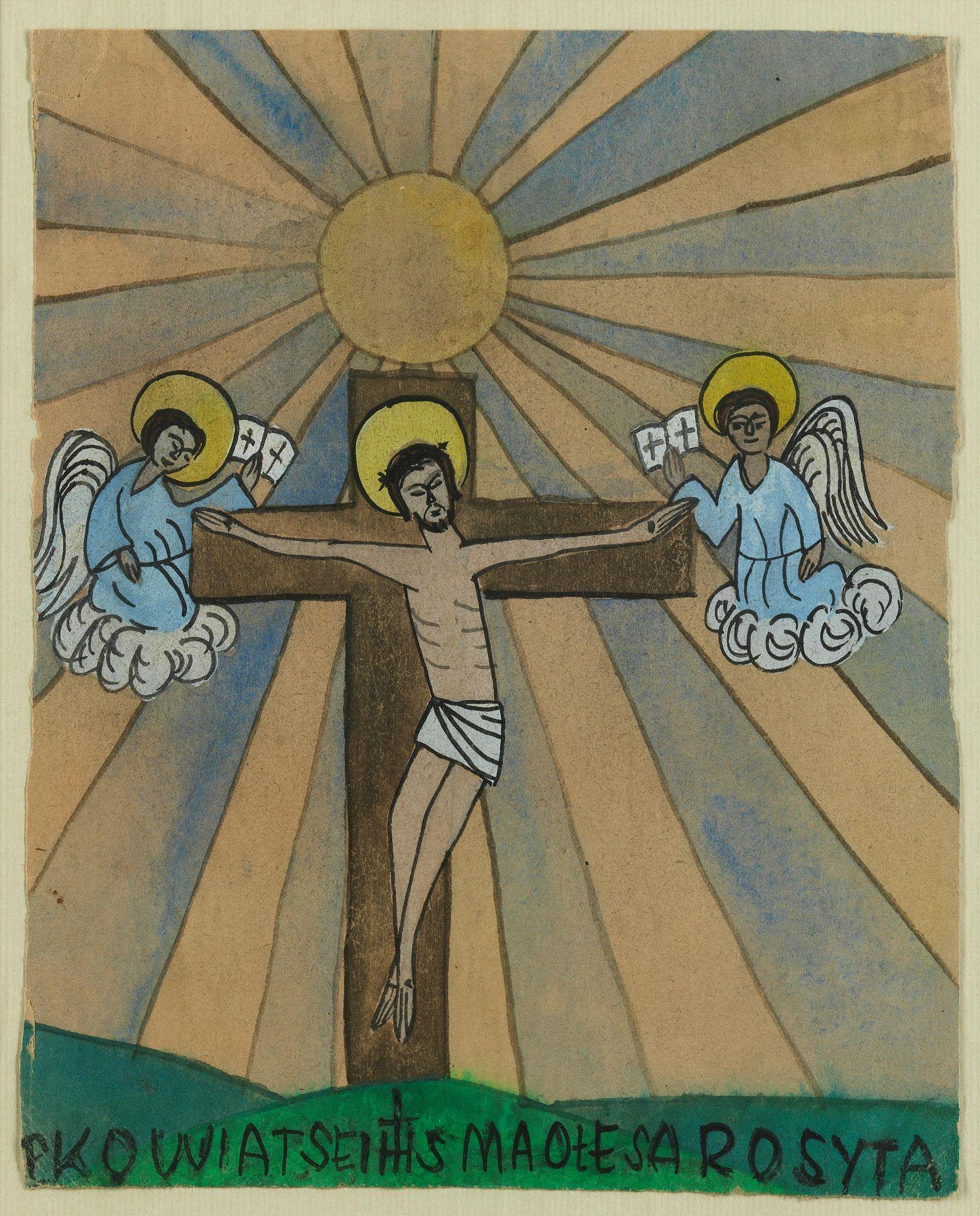 "Nikifor (1893-1968) ""Chrystus na krzyżu"", źródło: Hampel"