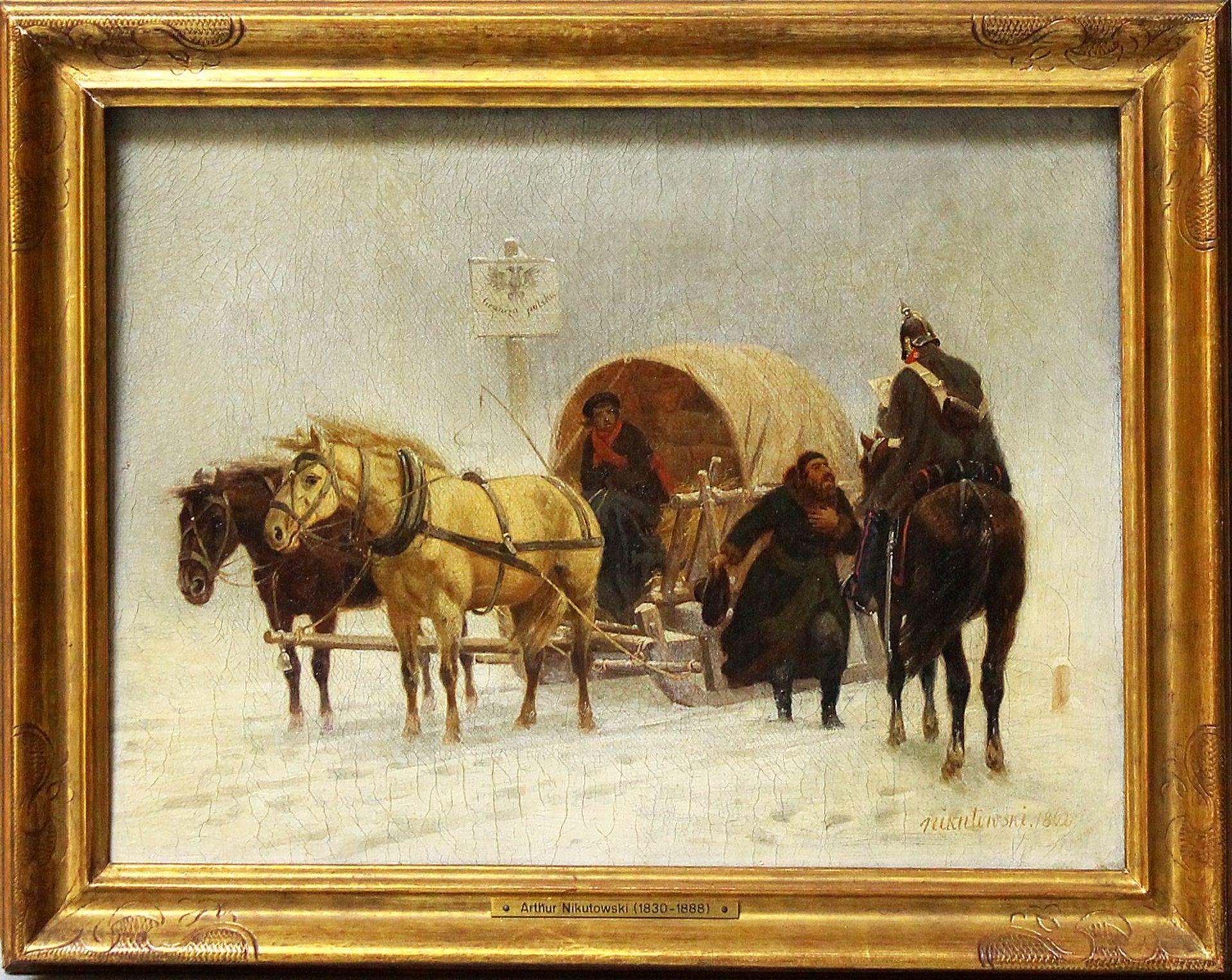 "Artur Jan Nikutowski (1830-1888) ""Na polskiej granicy"", źródło: Auktionshaus Dannenberg"