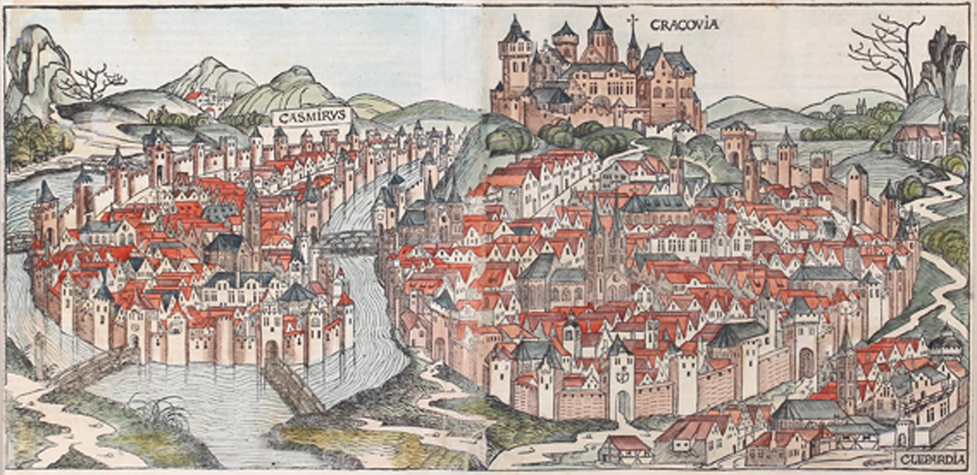 "Hartmann Schedel (1440 - 1514) ""Widok Krakowa"", źródło: Antiquariat Kiefer"