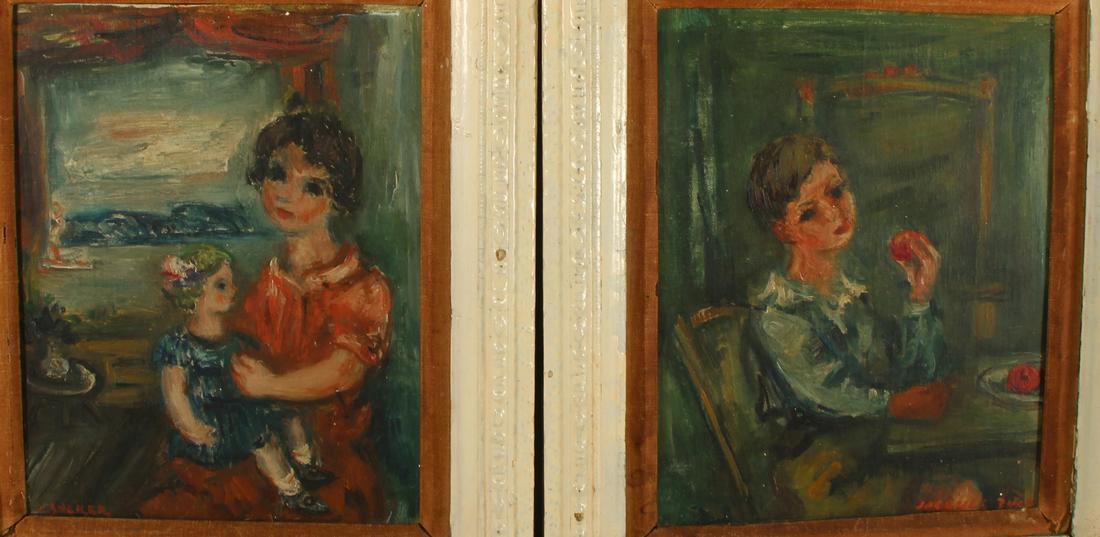 """Jakub Zucker (1900-1981) """"Para portretów"""", źródło: Clarke Auction Gallery"""