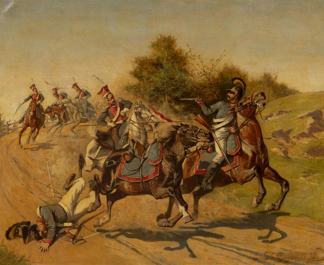"""Stanisław Bagieński (1876-1948) """"Potyczka"""", źródło: Ahlers & Ogletree Auction Gallery"""