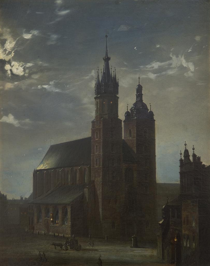 """Aleksander Gryglewski (1833-1879) """"Kościół Mariacki w Krakowie"""", 1865 rok, źródło: Muzeum Narodowe w Krakowie"""