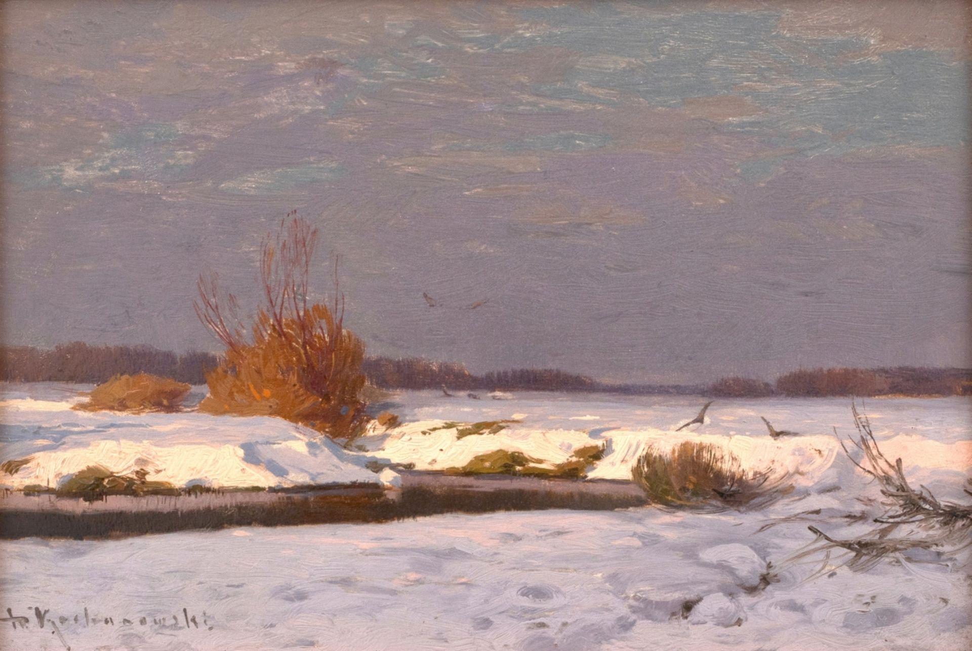 "Roman Kochanowski (1857-1945) ""Pejzaż zimowy"", źródło: Gailer Kunstauktionshaus"