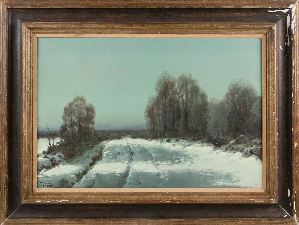 """Witold Korecki (1890-1980) """"Pejzaż zimowy"""", źródło: Eldred's"""