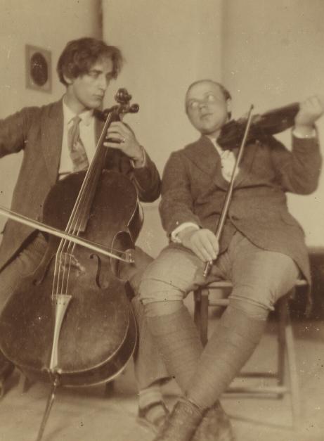 Portret fotograficzny Tadusza Pruszkowskiego i Jana Brzezińskiego, przed 1915 rokiem, źródło: Polona