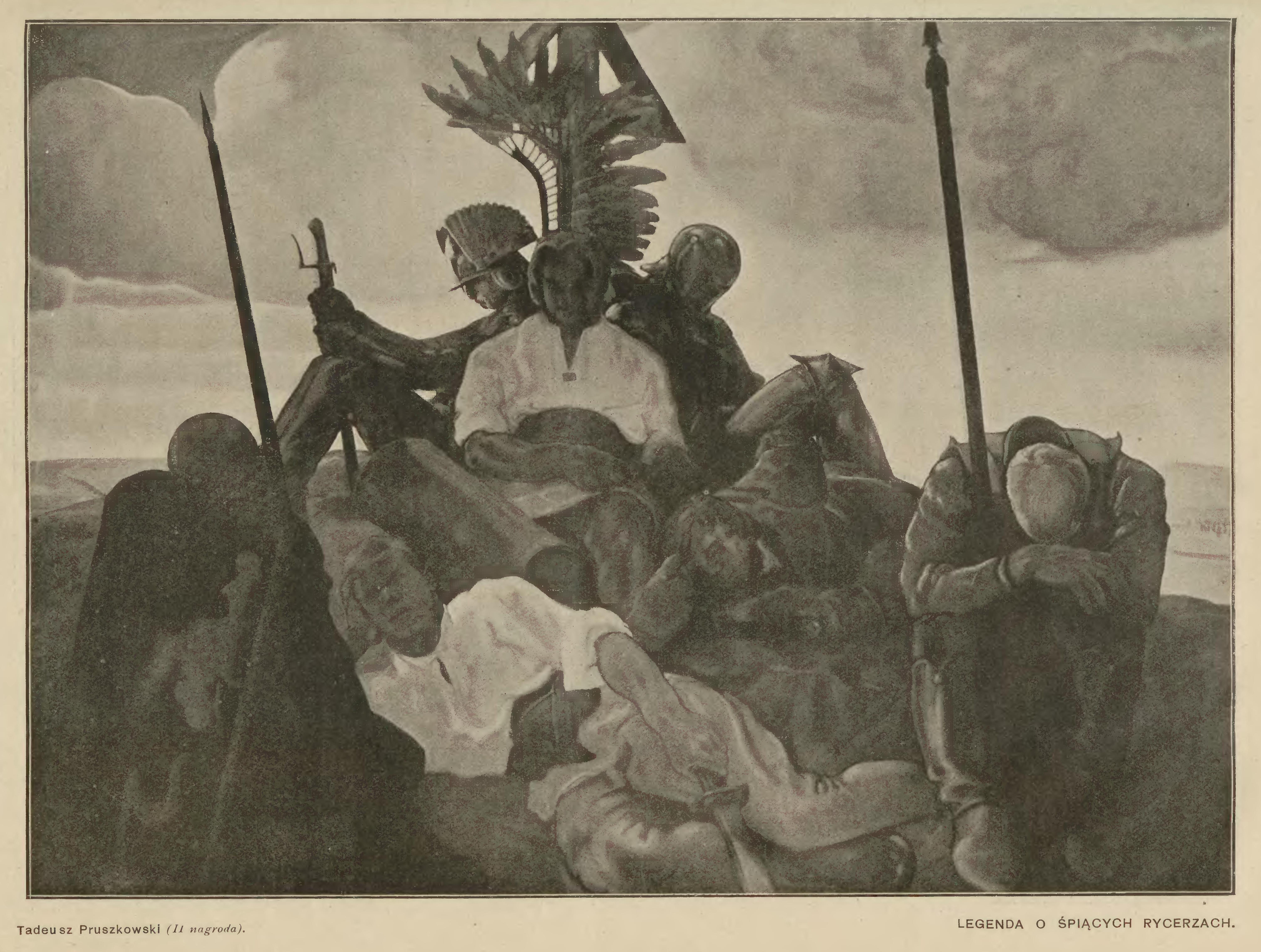 """Tadeusz Pruszkowski (1888-1942) """"Legenda o śpiących rycerzach"""", 1916 rok, źródło: """"Świat"""" 1916, nr 44"""