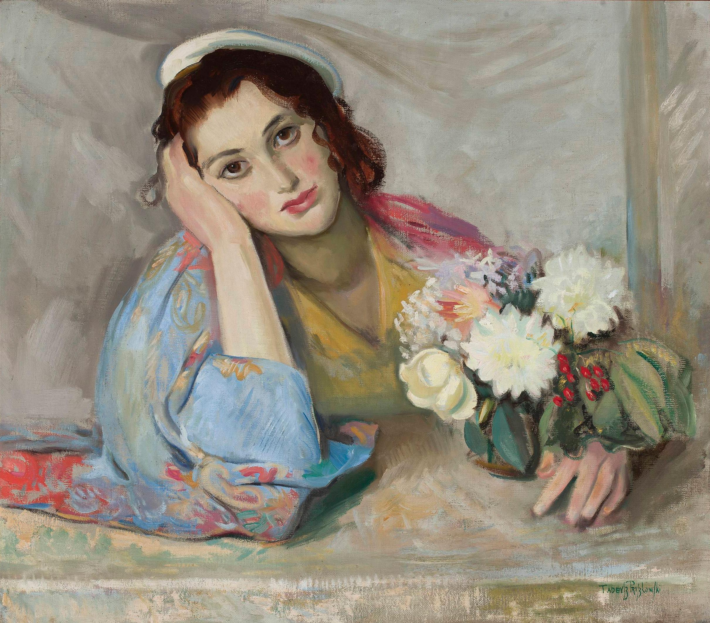 """Tadeusz Pruszkowski (1888-1942) """"Portret z kwiatami (Carlotta Bologna?)"""", przed 1934 rokiem, źródło: Muzeum Narodowe w Warszawie"""