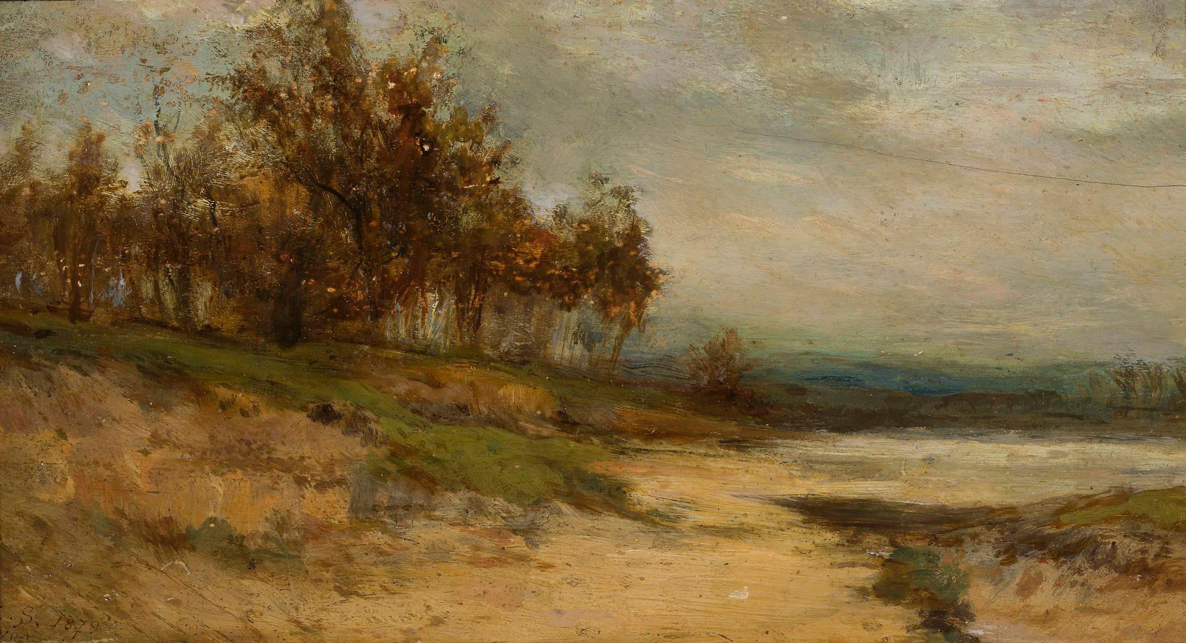 """Zygmunt Sidorowicz (1846-1881) """"Krajobraz z kępą drzew"""", 1879 rok, źródło: Muzeum Narodowe w Warszawie"""