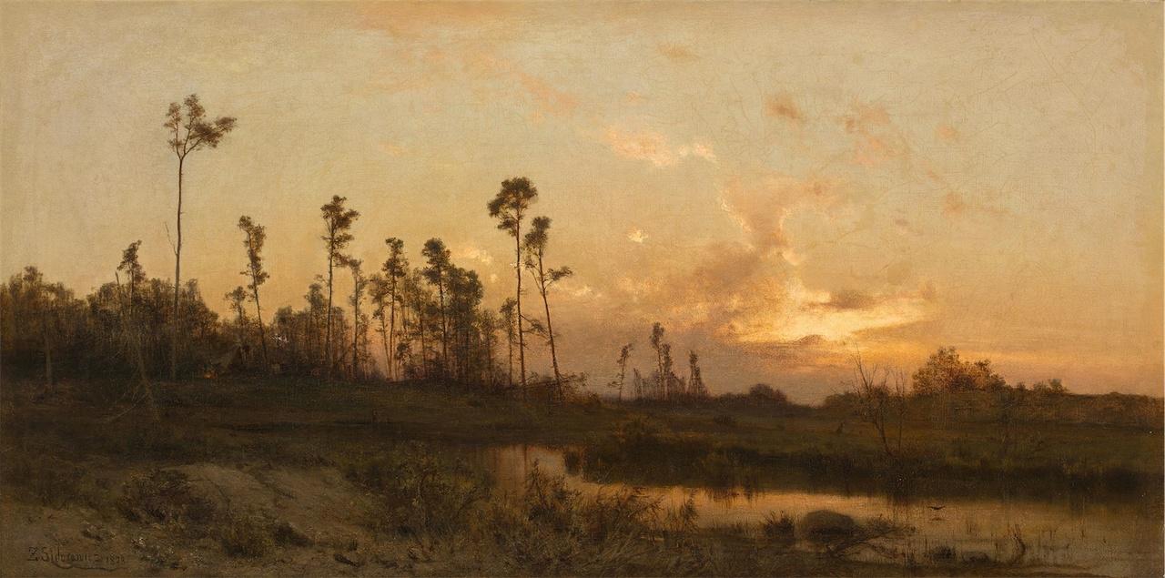 """Zygmunt Sidorowicz (1846-1881) """"O zachodzie"""", 1878 rok, źródło: Kolekcja smólska"""
