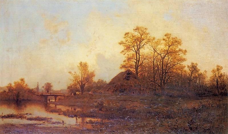 """Zygmunt Sidorowicz (1846-1881) """"Krajobraz z mostem"""", 1879 rok, źródło: Muzeum Narodowe w Krakowie"""