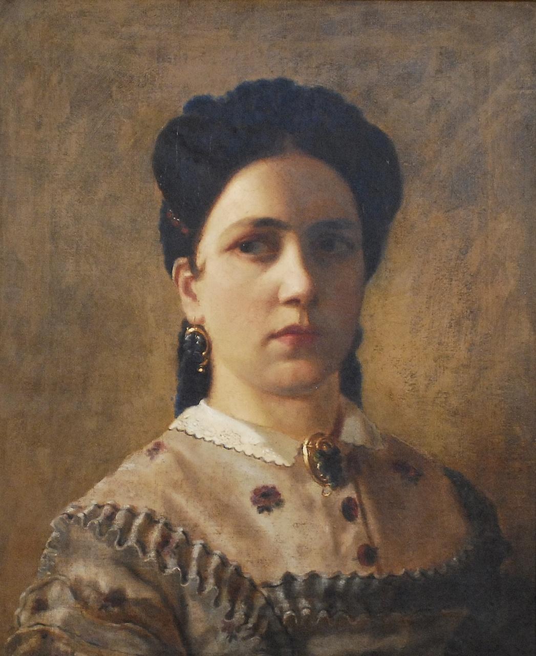 """Zygmunt Sidorowicz (1846-1881) """"Portret młodej kobiety"""", 1865 rok, źródło: Desa Katowice"""